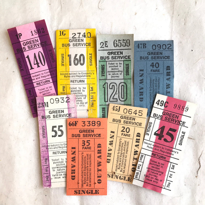 Green Bus Services Vintage Ticket Set