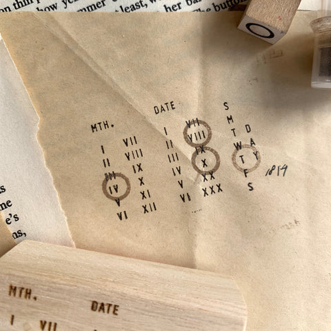 Roman Numerals Date Rubber Stamp