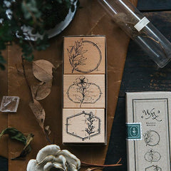 OURS Flower Label Rubber Stamp Set