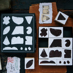 OURS Rough Geometric Blocks Rubber Stamp Set