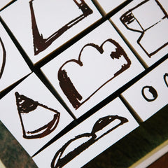 OURS Rough Geometric Shapes Rubber Stamp Set