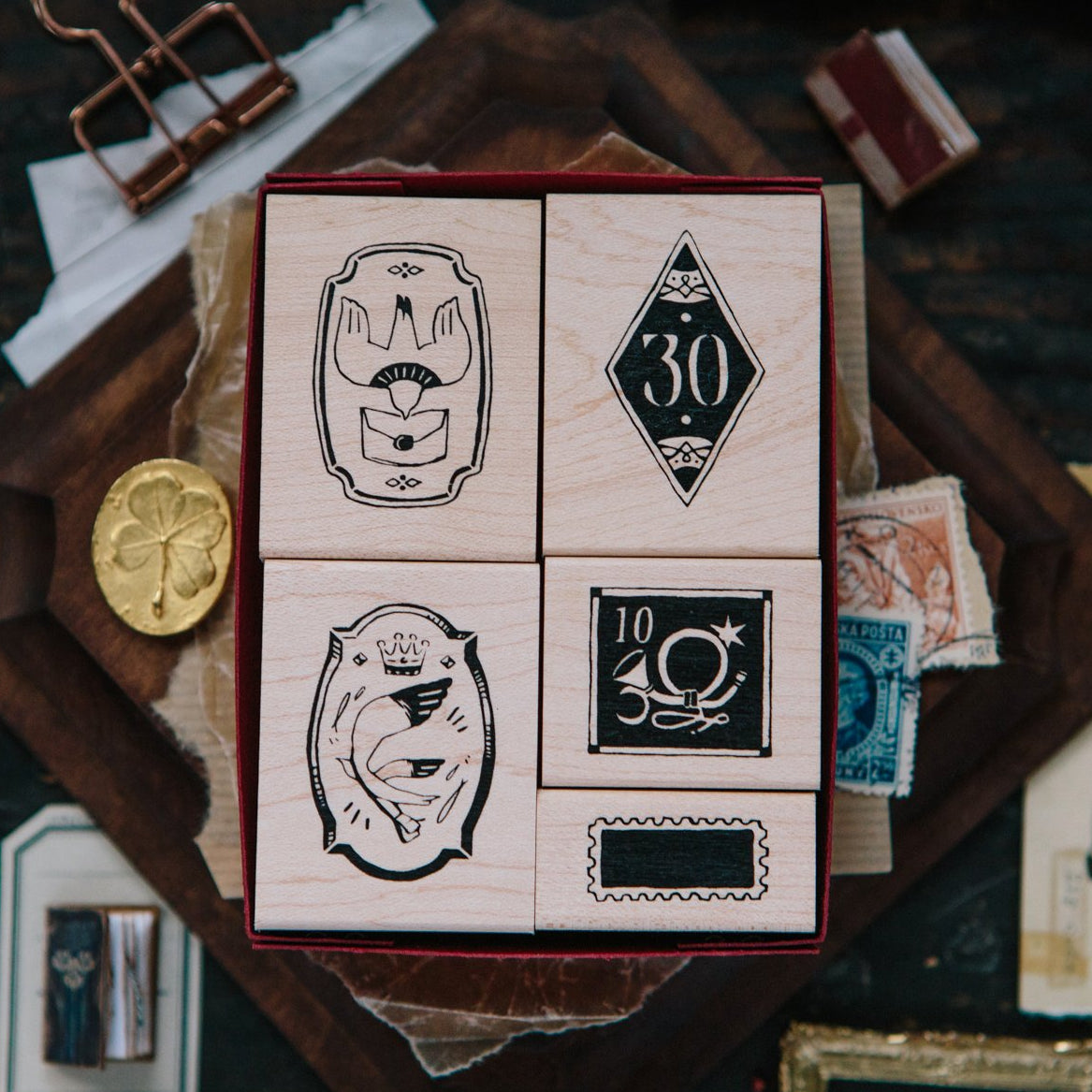 OURS Postal Marking Rubber Stamp Set