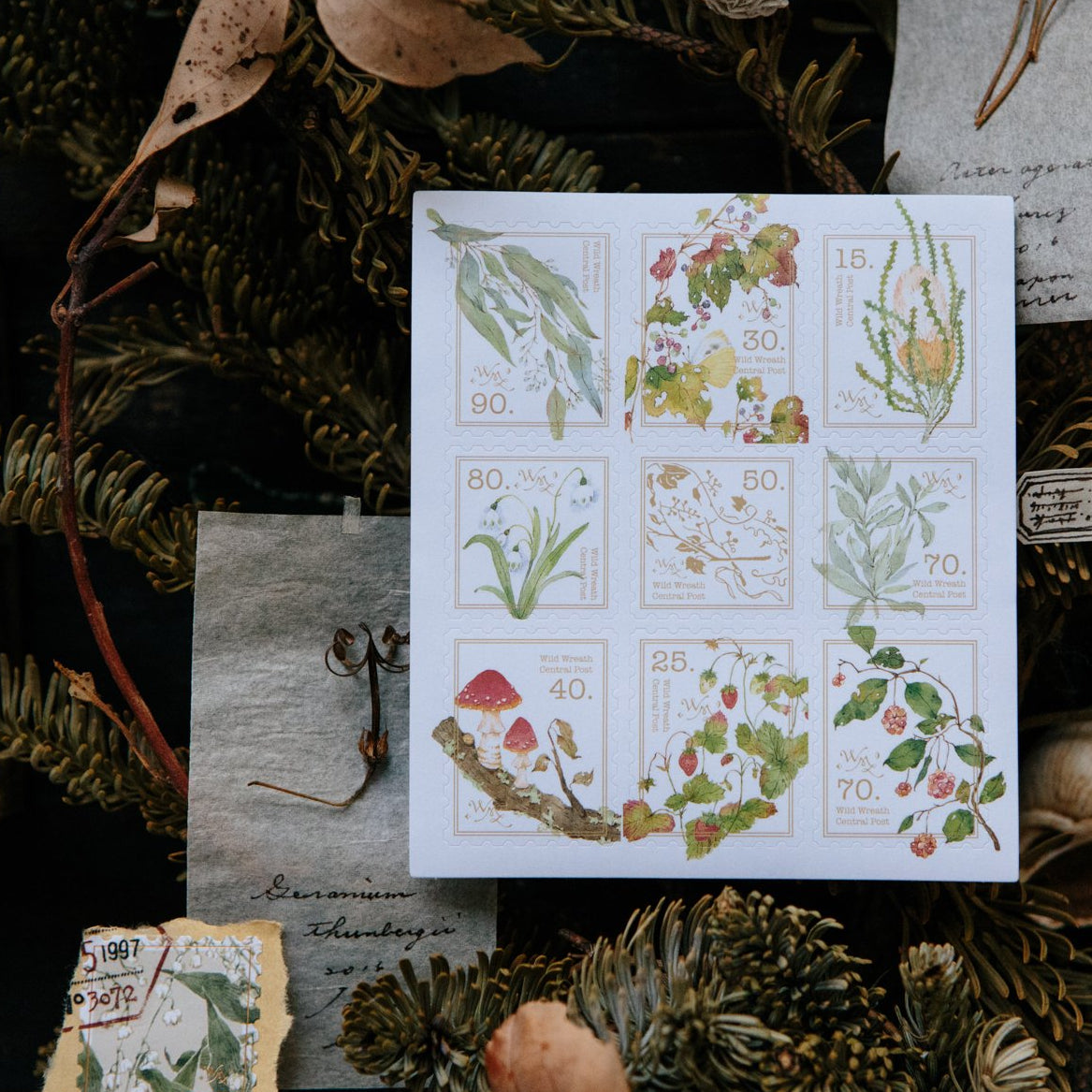 OURS Central Post Postage Stickers - Wild Wreath
