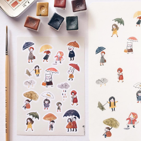 msbulat Sticker Sheet - Rainy Days