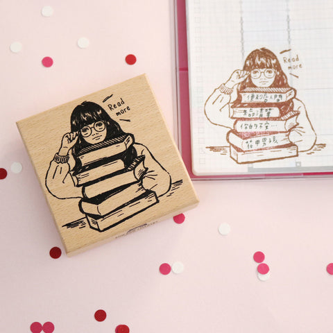 Bonnie Illustration - Reading Girl Rubber Stamp