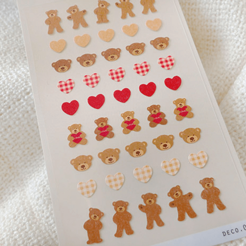 Suatelier Mini Sticker - Deco.04 (teddy bear & hearts)