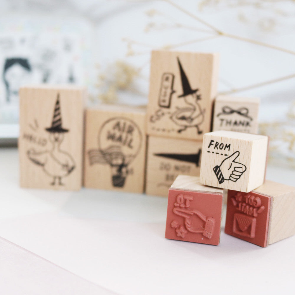 Bonnie Illustration - Goose Postman Rubber Stamps Set