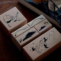 Yamadoro Rubber Stamp Set - Mountains, Stars & Birds