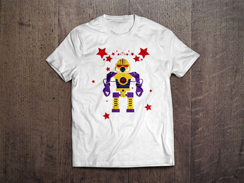 Robot Man Kids T-Shirt (White)