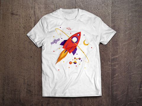 Rocket Launch Kids T-Shirt (White)