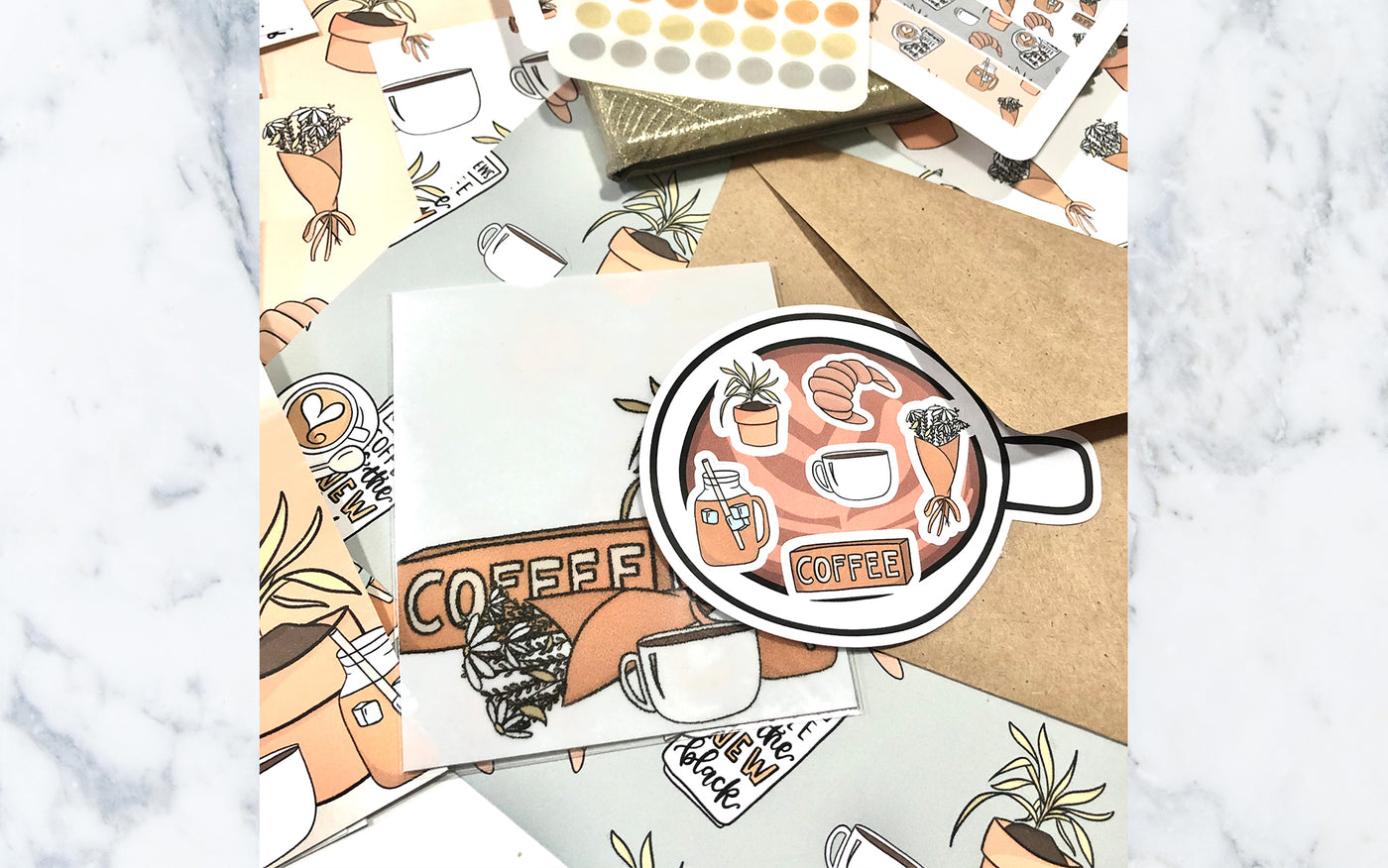 Floral Marble Box Stickers (TOONIE TUESDAY)