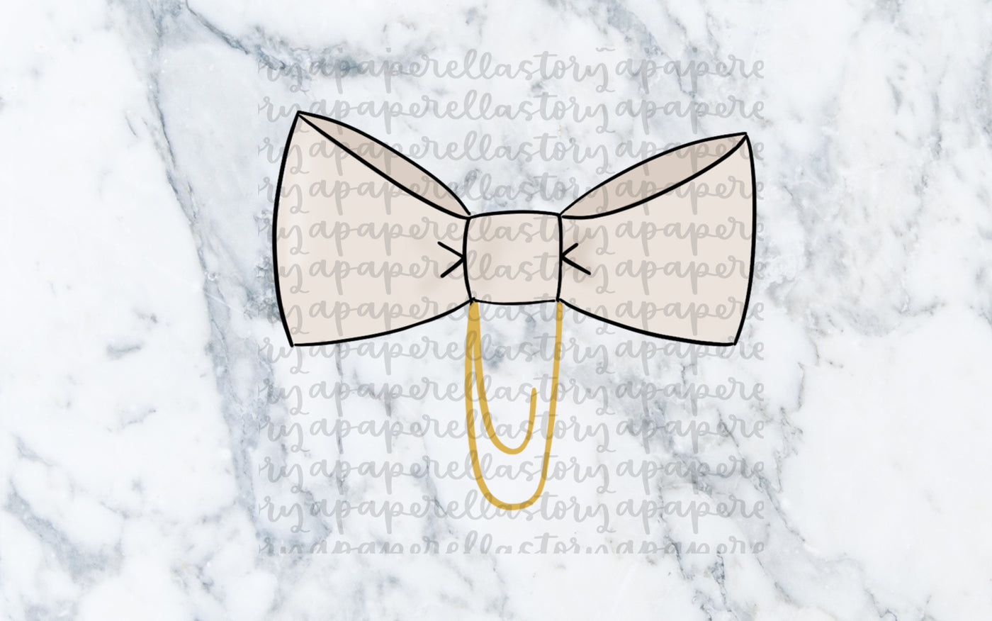 Cream Bow Clip Doodle - Digital File