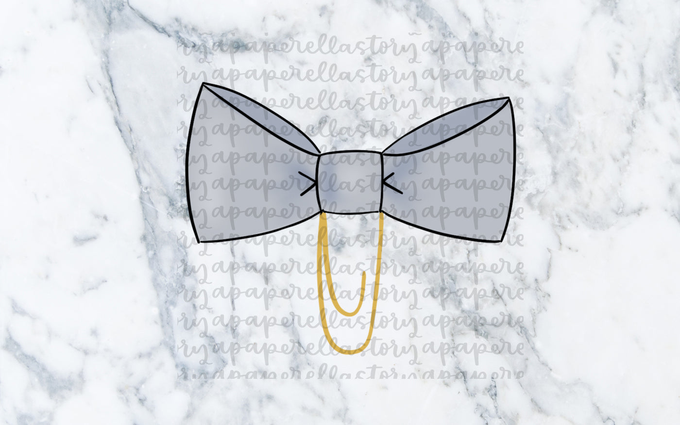 Light Blue Bow Clip Doodle - Digital File