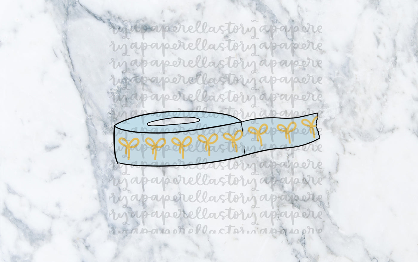 Light Blue Washi Roll Doodle - Digital File