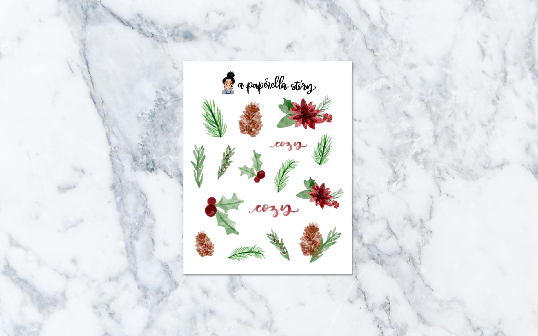 Floral Christmas Deco Stickers