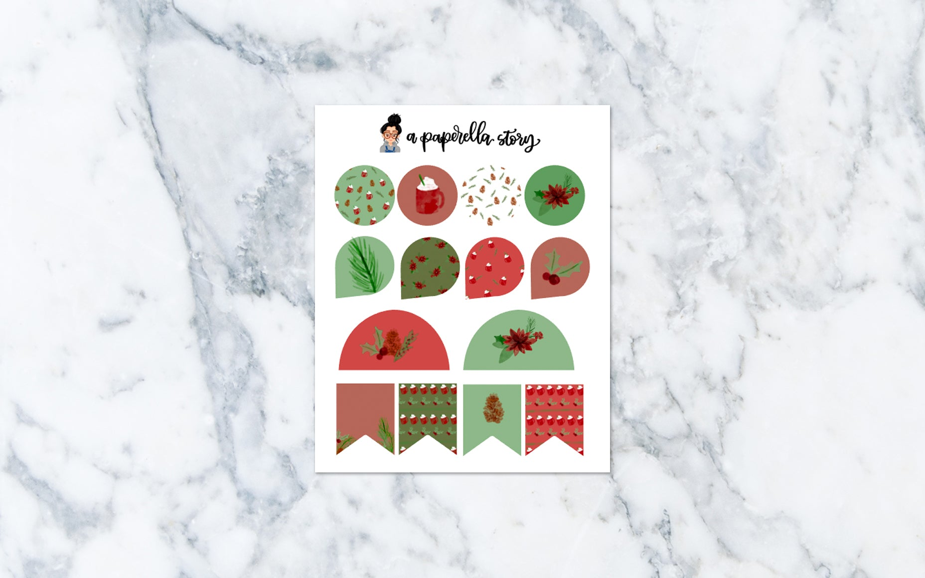 Floral Christmas Functional Stickers