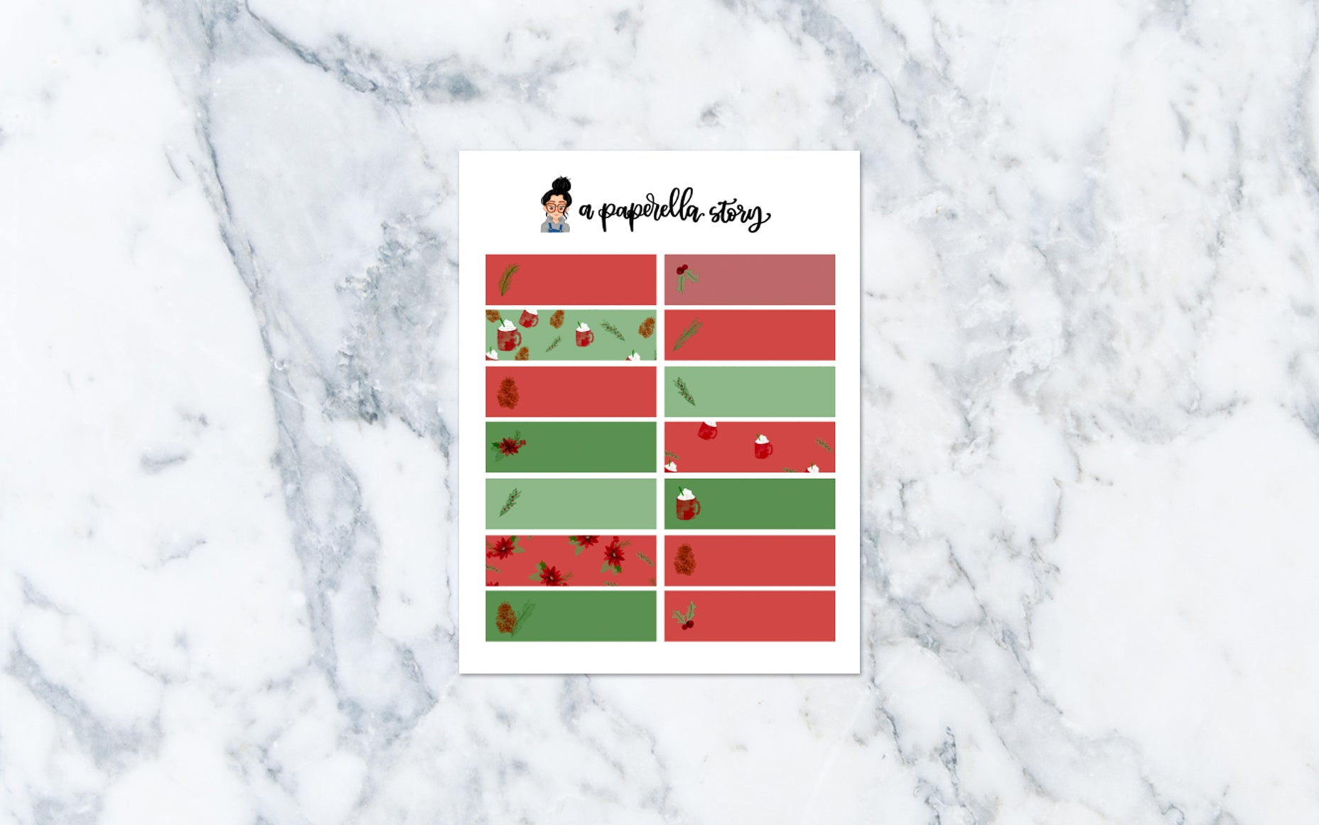 Floral Christmas Quarter Box Stickers