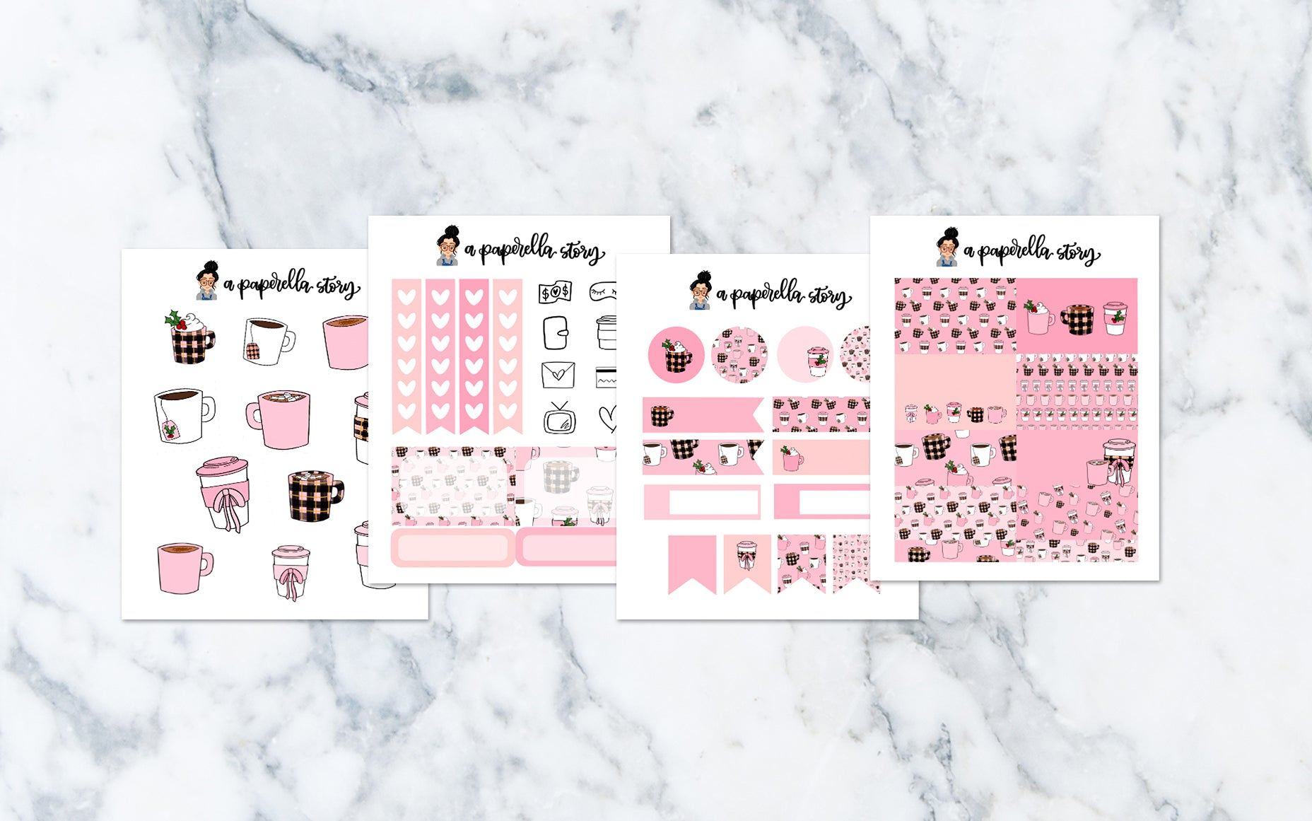 Holiday Pink Drinks Petite Sticker Kit