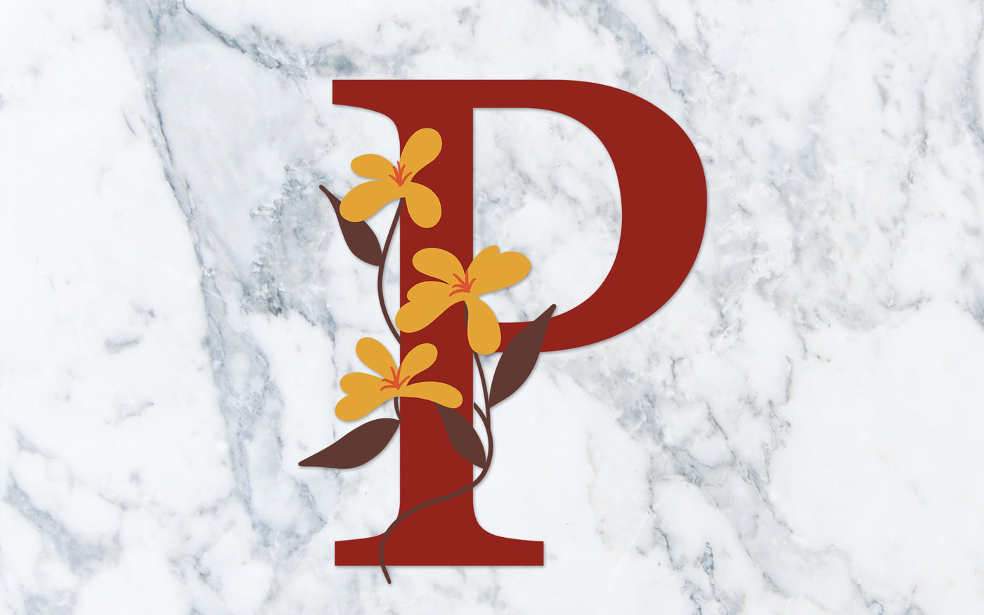 """P"" Fall Floral Monogram - Digital File"