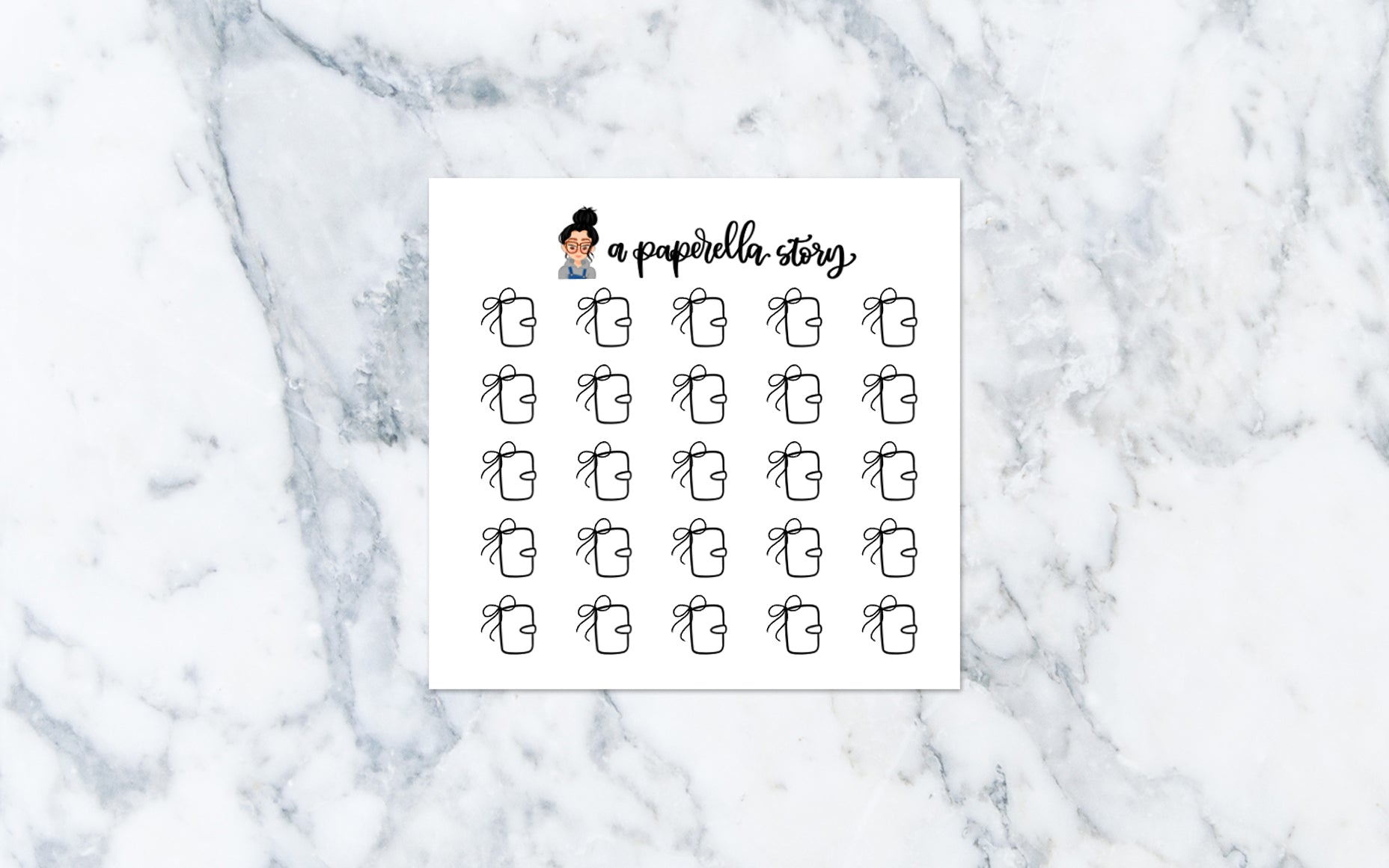 Planner - Tiny Neutral Bow Doodle Stickers