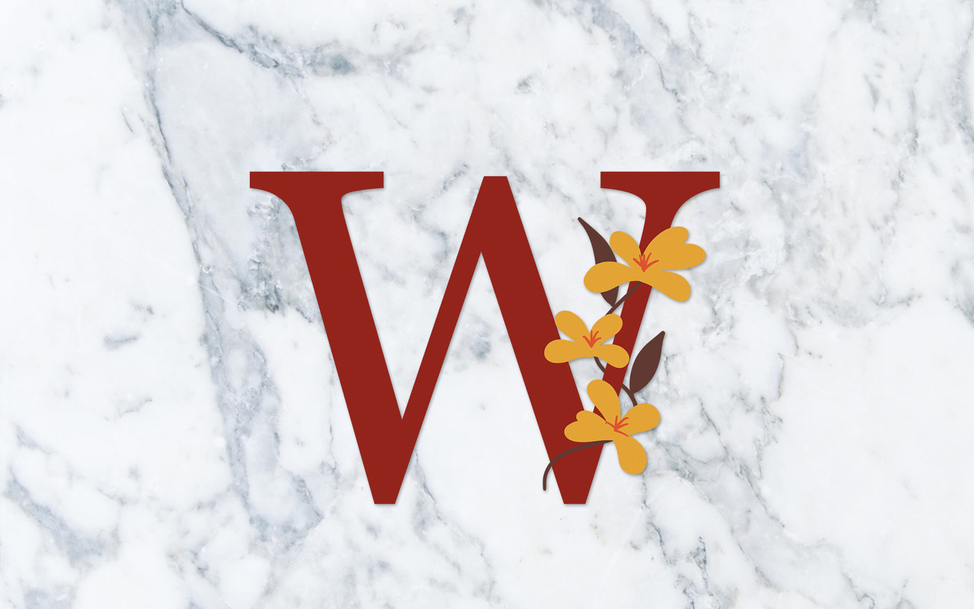 """W"" Fall Floral Monogram - Digital File"
