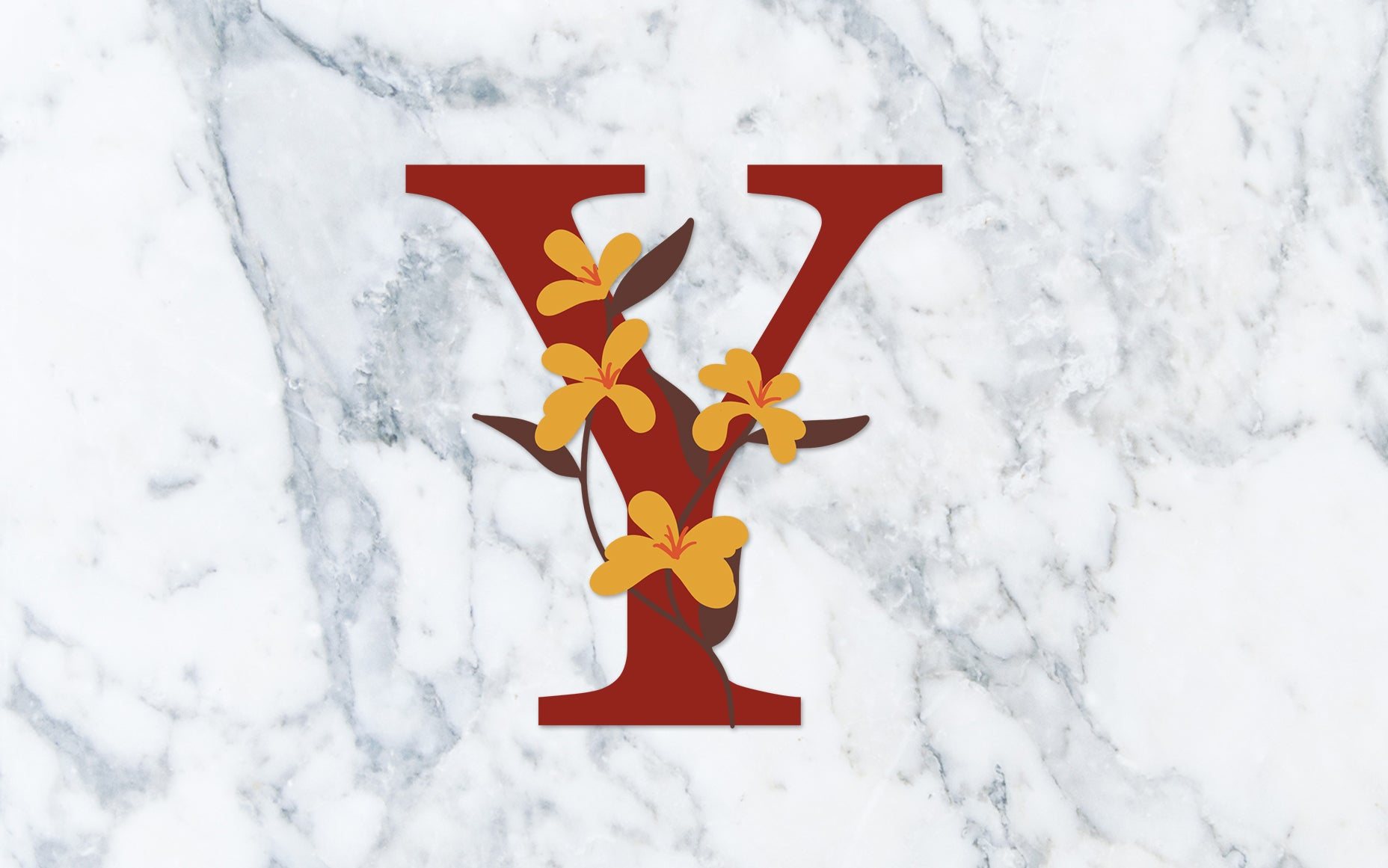 """Y"" Fall Floral Monogram - Digital File"