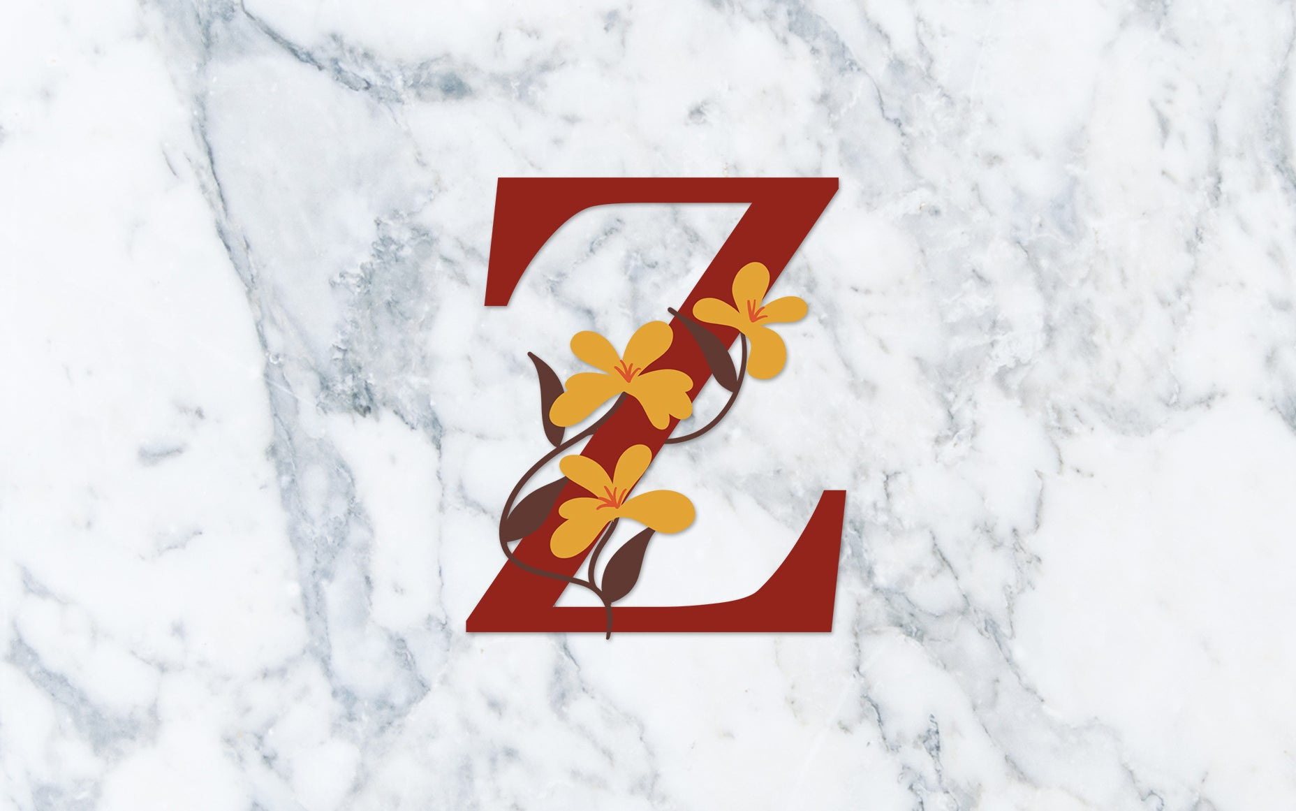 """Z"" Fall Floral Monogram - Digital File"