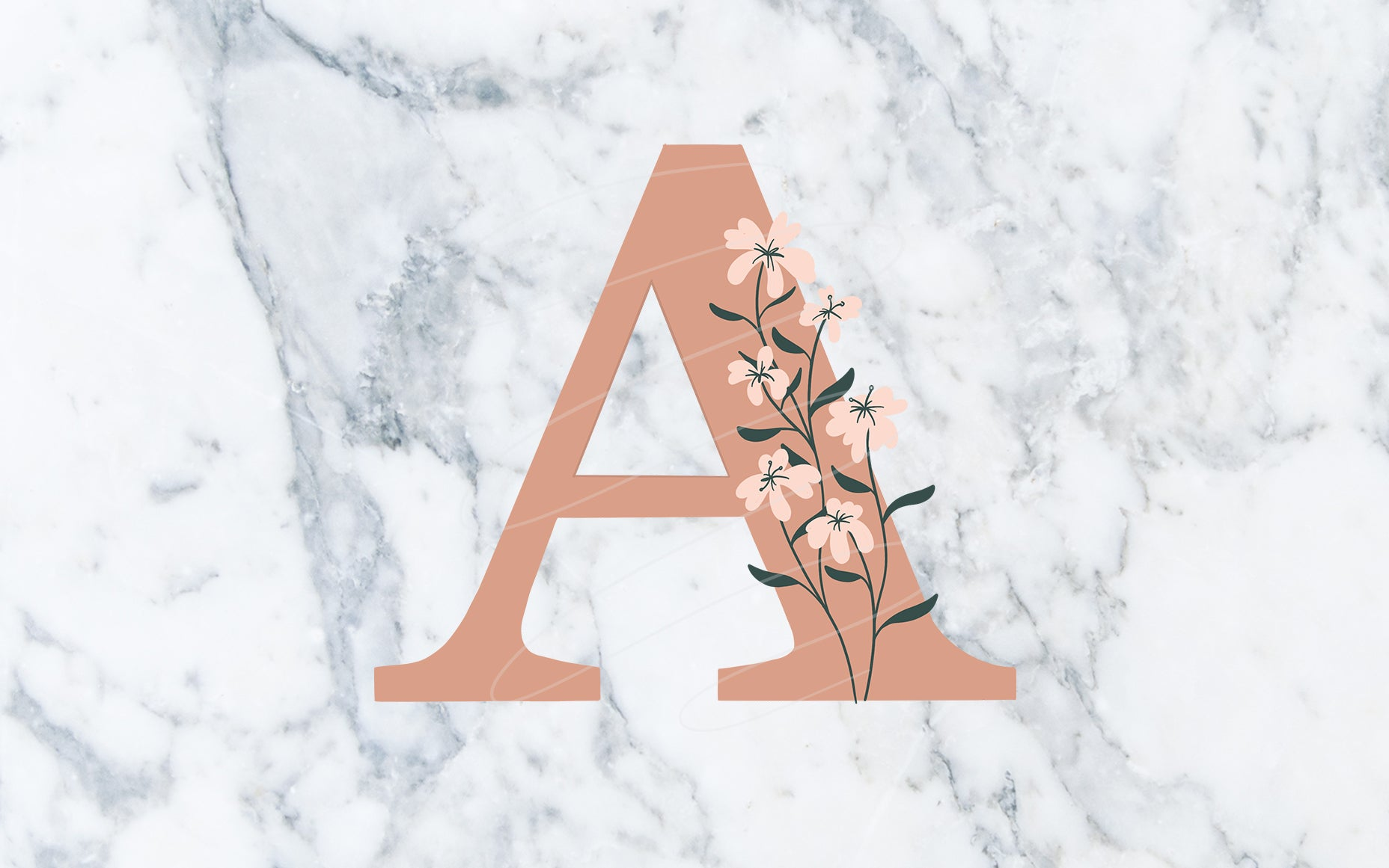 """A"" Neutral Floral Monogram - Digital File"
