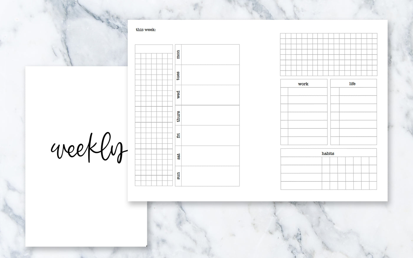 Horizontal Week on 2 Pages (A6 rings) - Printable Inserts
