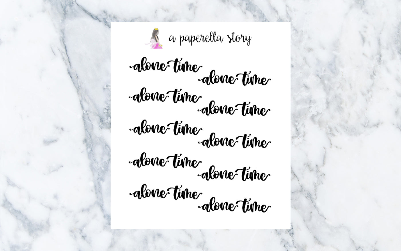 Alone Time Hand Lettered Stickers (Clear)
