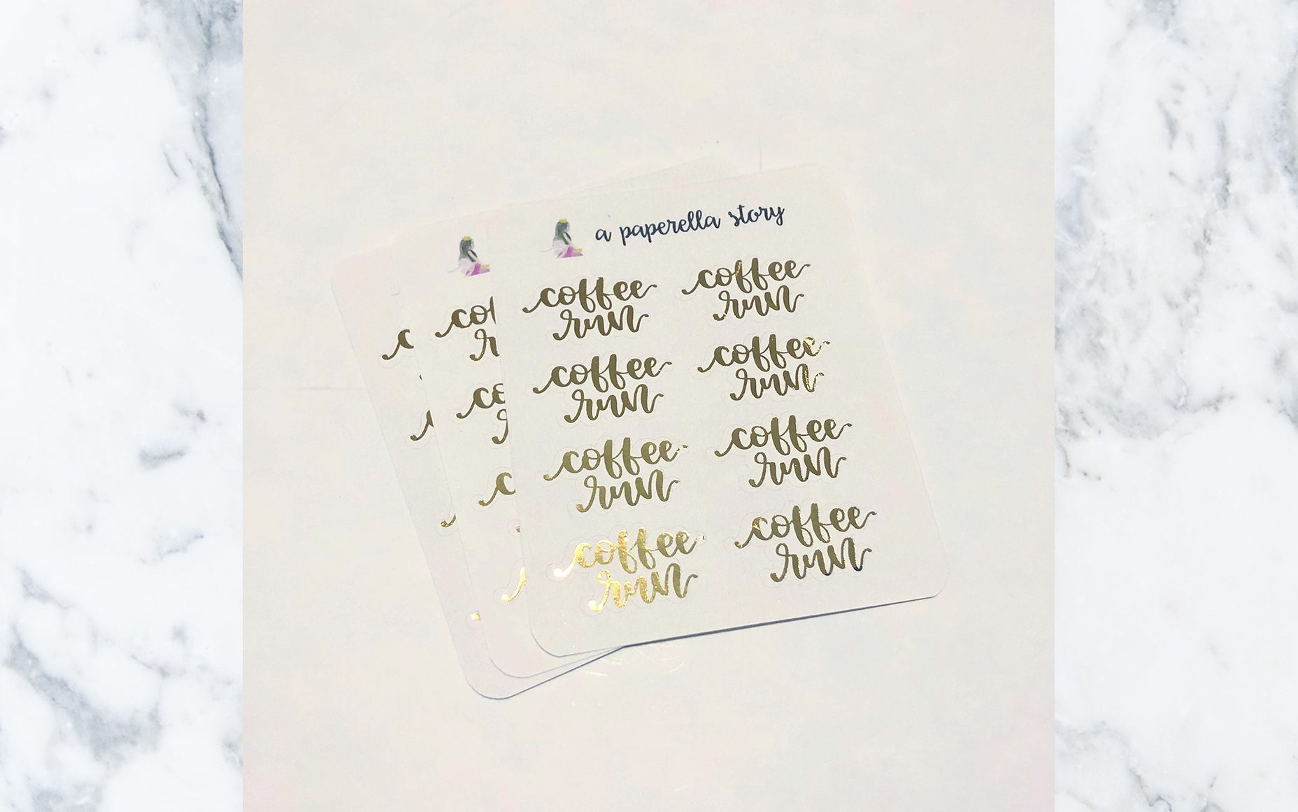 Coffee Run Gold Foil Stickers