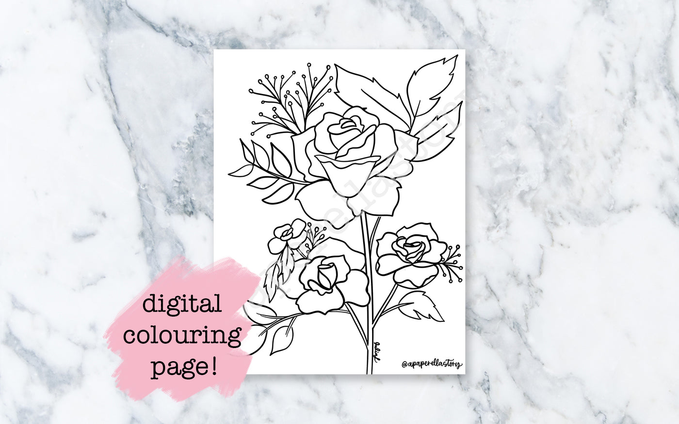 Roses Colouring Sheet - Digital File