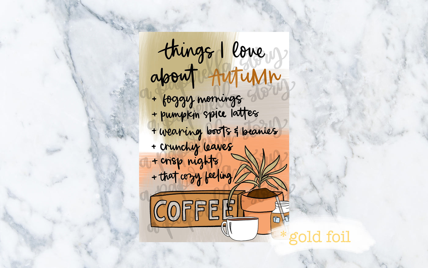 Things I Love About Autumn Gold Foil Art Print  - Café Vibes Bundle