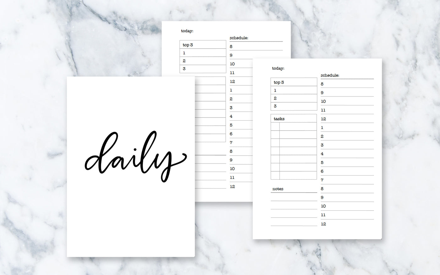 Hourly Day on 1 Page (A6 rings) - Printable Inserts