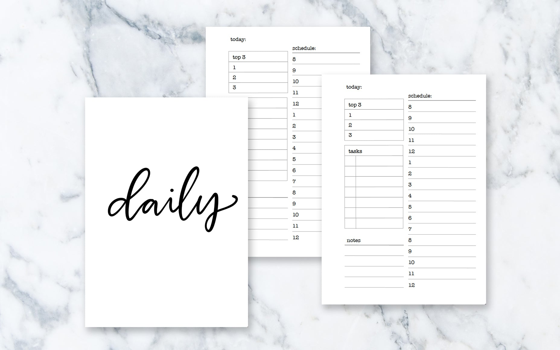 Hourly Day on 1 Page (A5 rings) - Printable Inserts