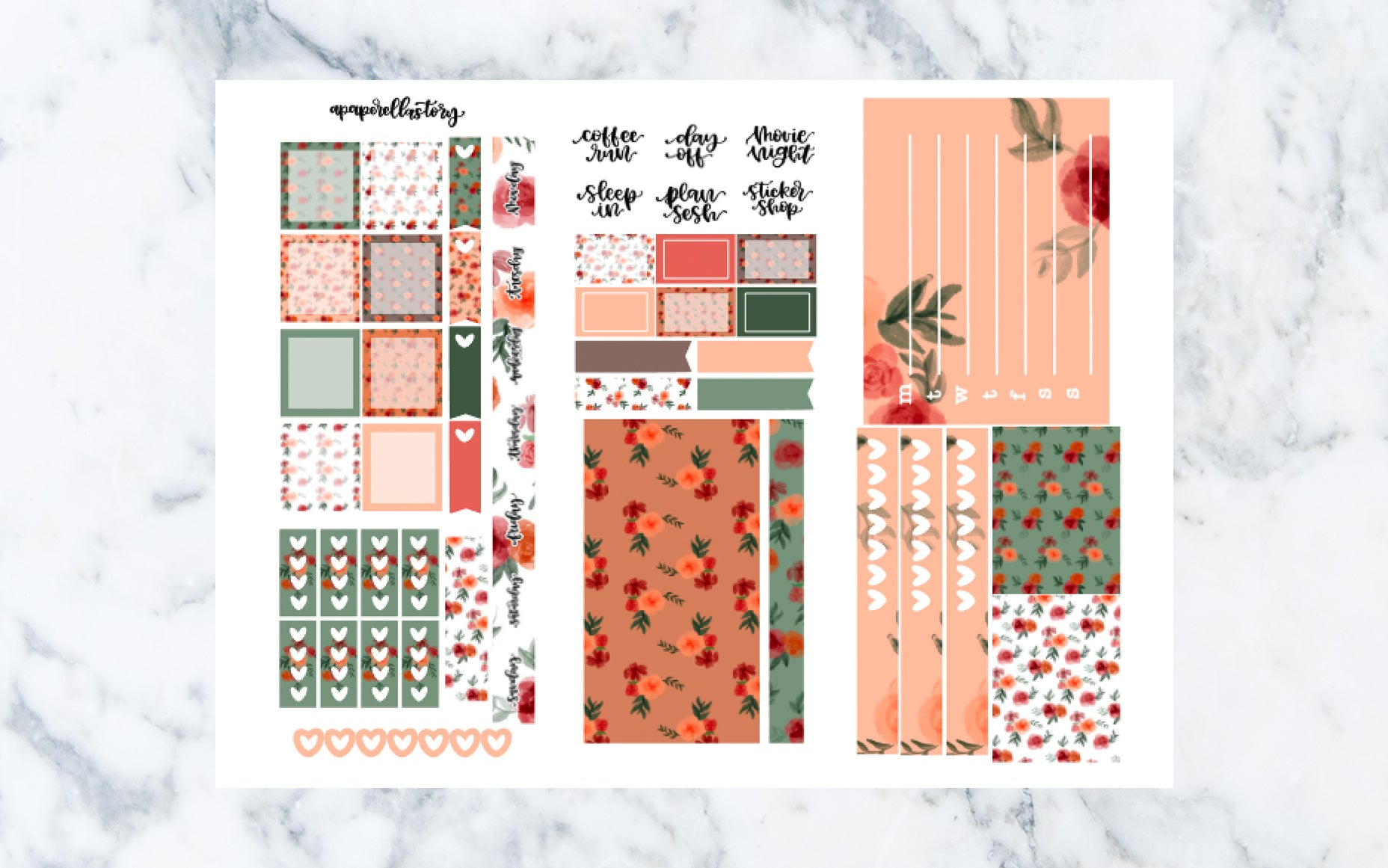 Fall Floral Hobonichi Weeks Stickers (REFORMAT)