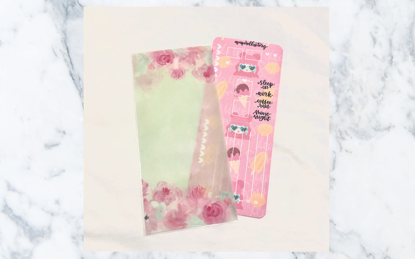 Green Floral Hobonichi Weeks Sticker Pocket