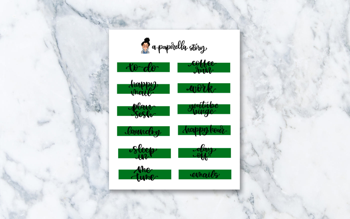 Green Hand Lettered Strip Stickers