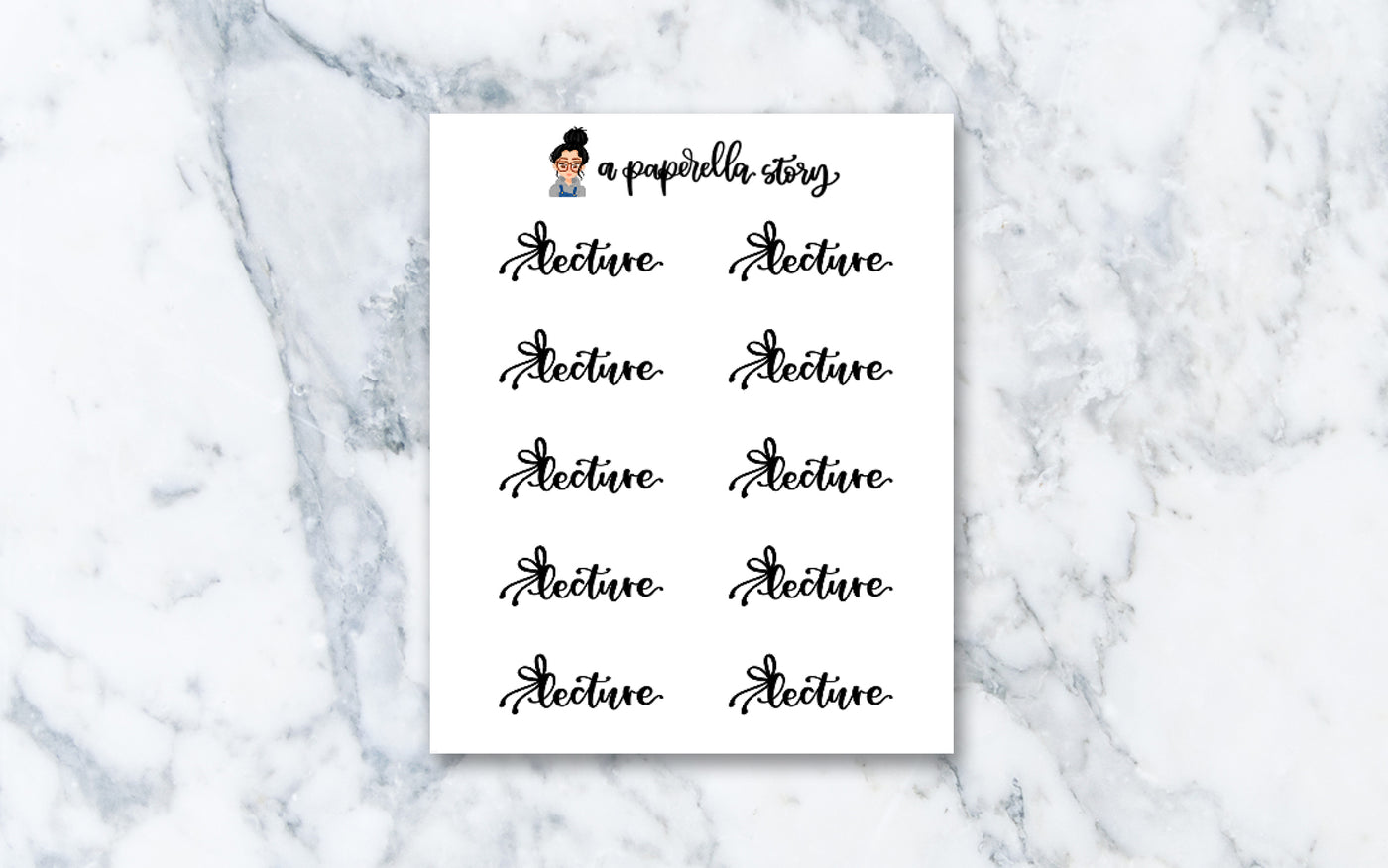 Lecture Bow Hand Lettered Stickers (Clear)