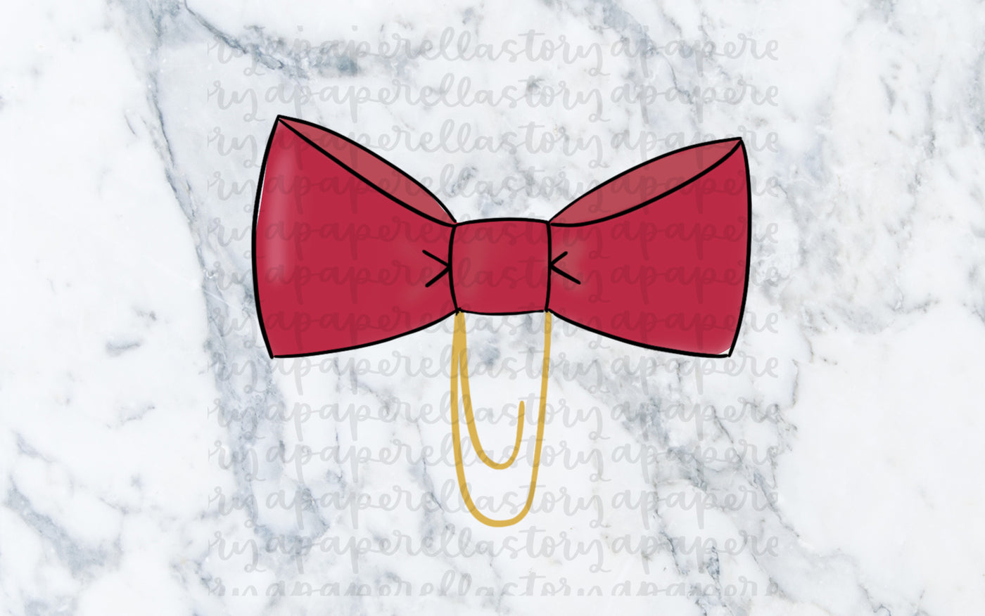 Red Bow Clip Doodle - Digital File