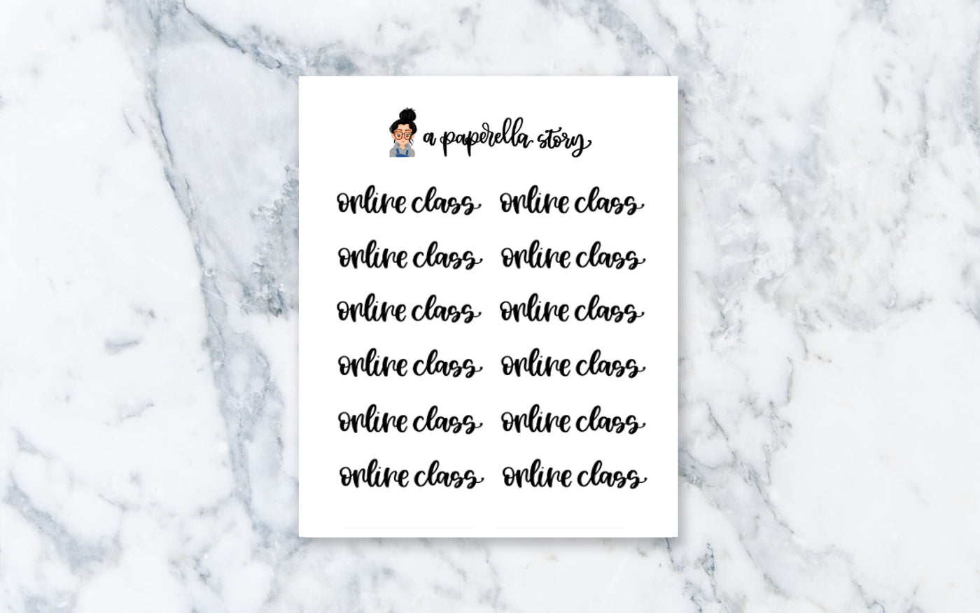 Online Class Hand Lettered Stickers (Clear)