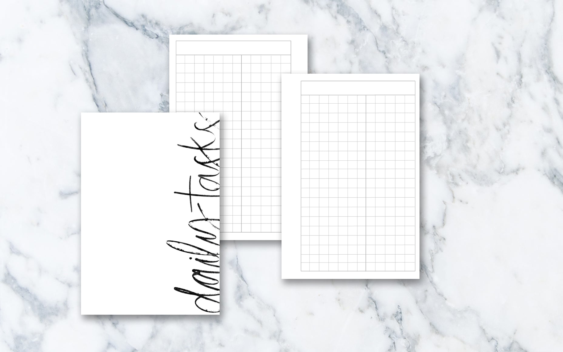 Day on 1 Page Grid (Pocket rings) - Printable Inserts