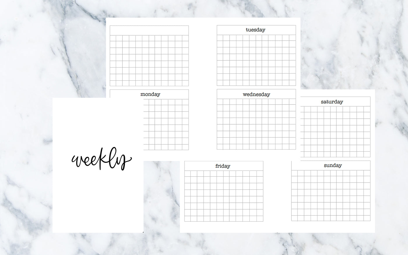 Vertical Week on 4 Pages w/ Days (Pocket rings) - Printable Inserts