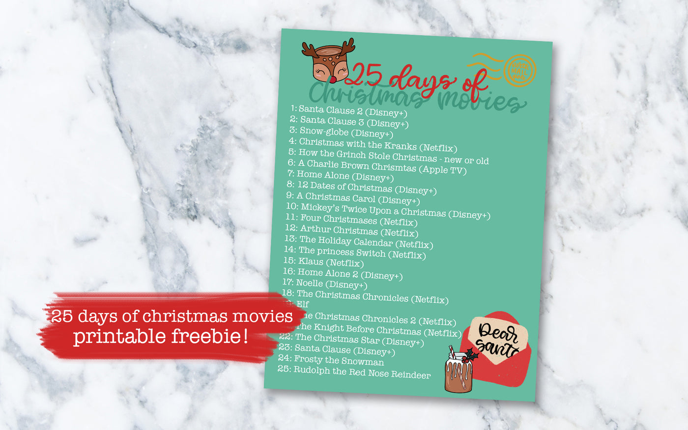 25 Days of Christmas Movies Printable - Digital File [FREEBIE]