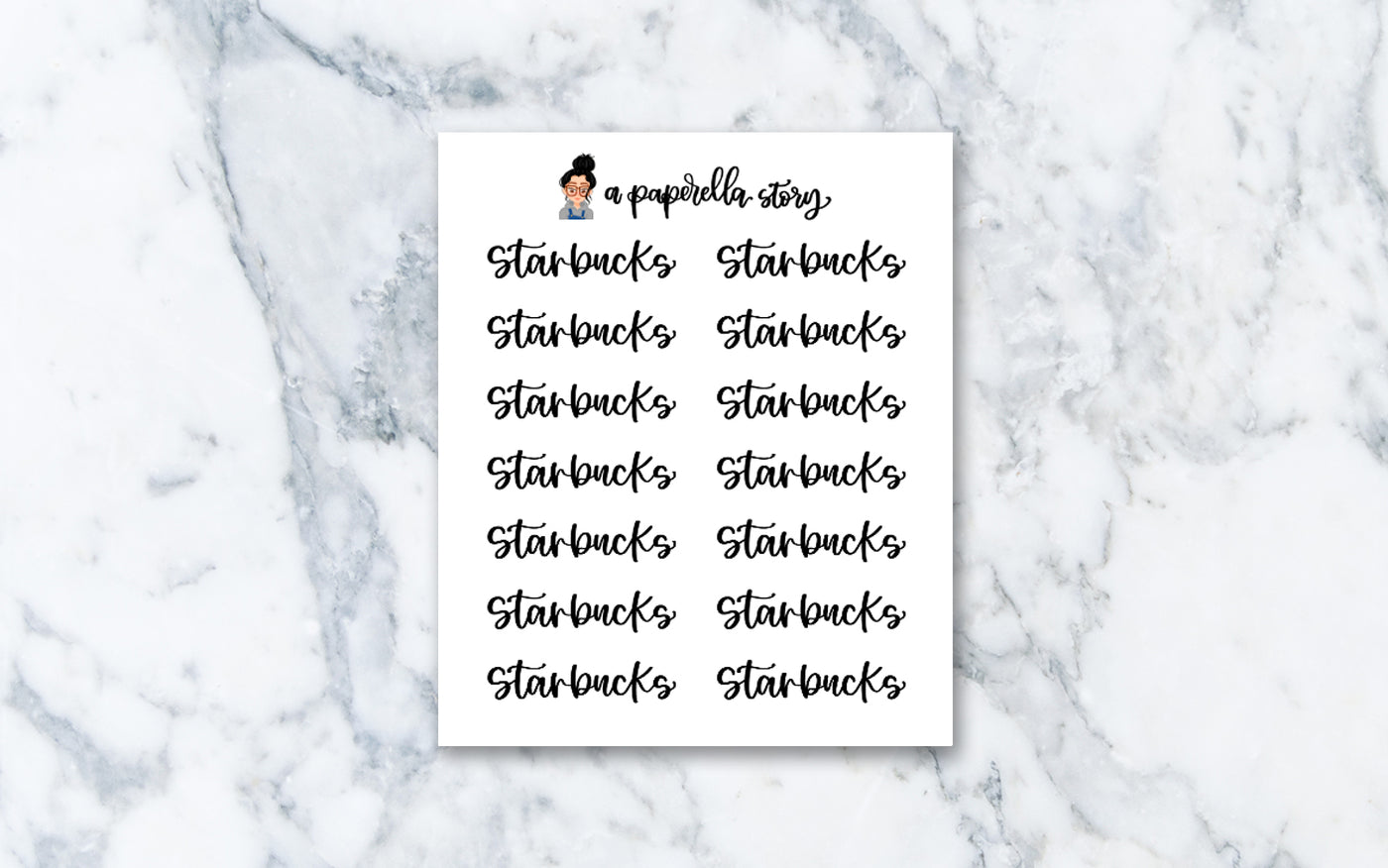 Starbucks Hand Lettered Stickers (Clear)