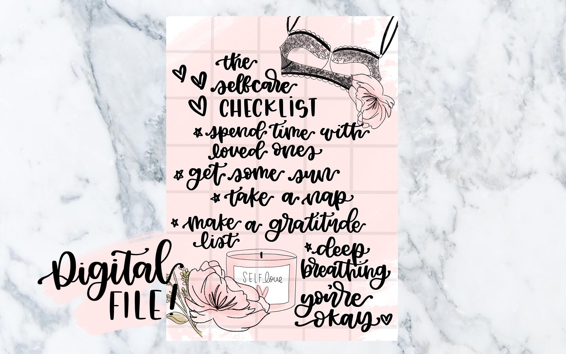 The Self-Care Checklist (Black) - Digital File