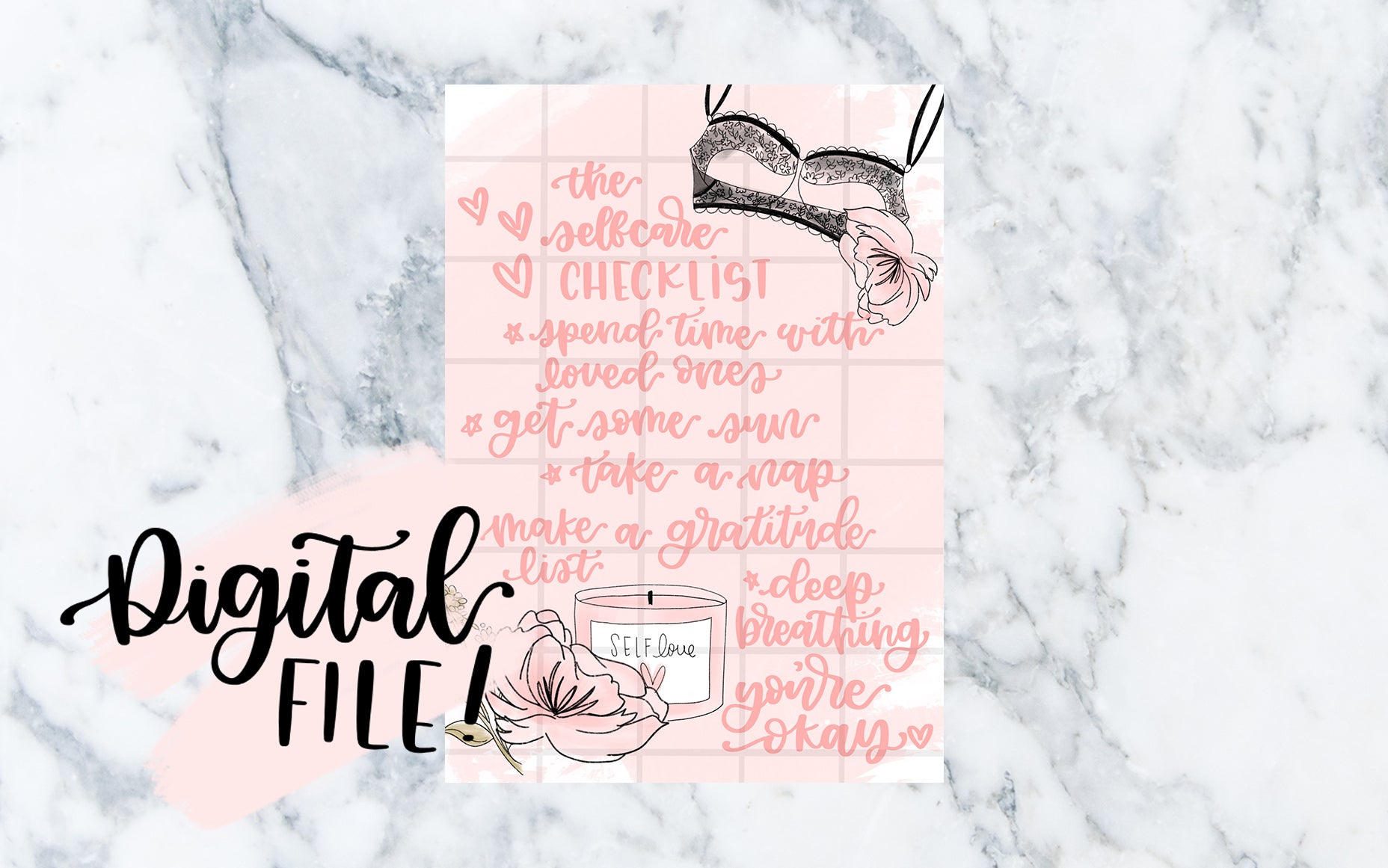 The Self-Care Checklist (Pink) - Digital File
