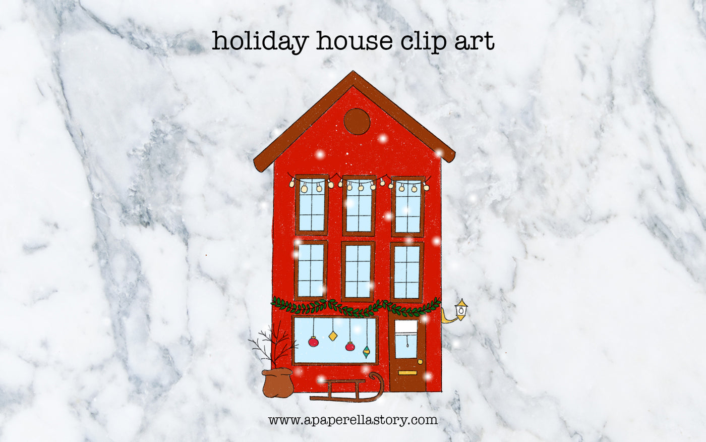 Snowy Holiday House Clip Art - Digital File