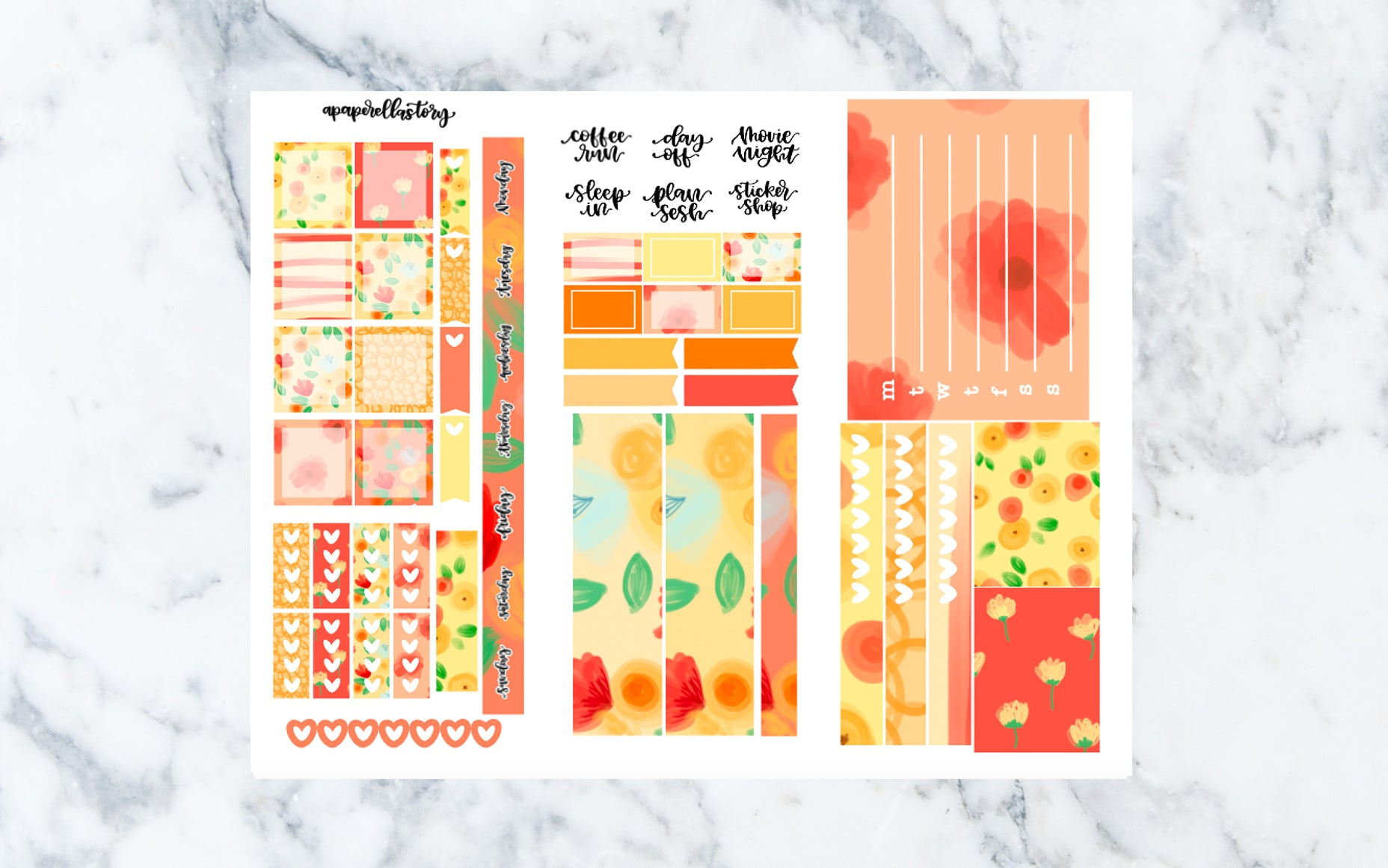 Sunset Floral Hobonichi Weeks Stickers