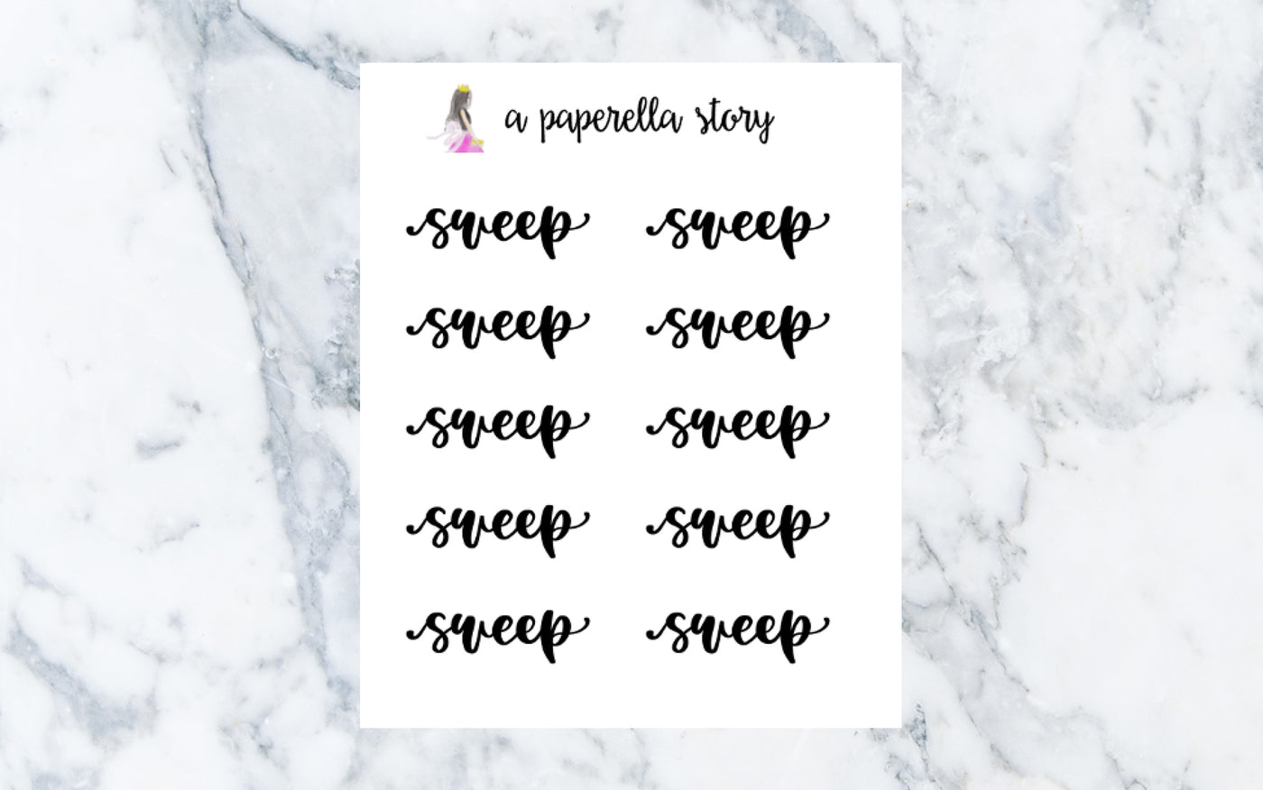 Sweep Hand Lettered Stickers (Clear)